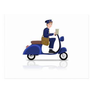 Postman on Scooter Postcard