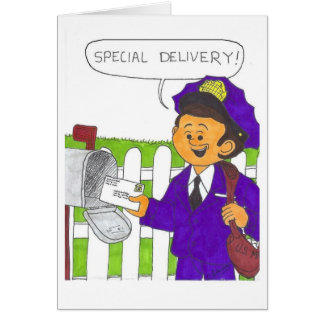 Postman with a letter card
