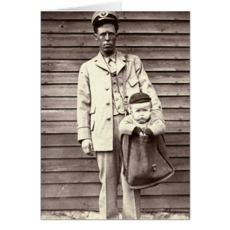Postman with Baby in Mailbag Greeting Card