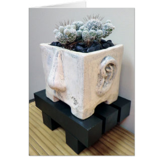 Pot Head with Thimble Cactus by The Perfect Plant Greeting Card