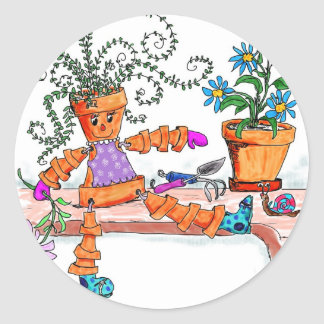 Pot lady round sticker