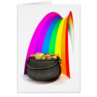 Pot O' Gold At The End Of A Rainbow Card