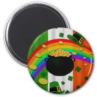 Pot of gold 6 cm round magnet