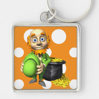 Pot Of Gold And Leprechaun Silver-Colored Square Key Ring
