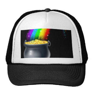 Pot of gold and rainbow mesh hats