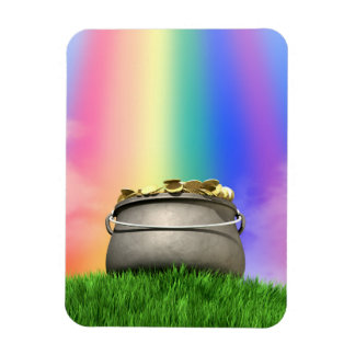 Pot Of Gold And Rainbow On Grassy Hill Magnet