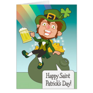 Pot of Gold & Beer Leprechaun Card