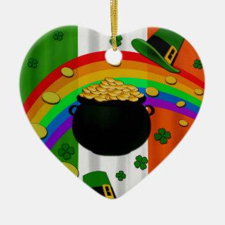 Pot of gold ceramic heart decoration