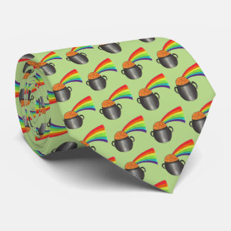 Pot of Gold Rainbow Green Saint Patrick's Day Tie