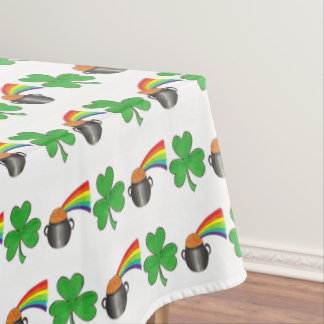 Pot of Gold Rainbow Shamrock Luck St Patrick's Day Tablecloth