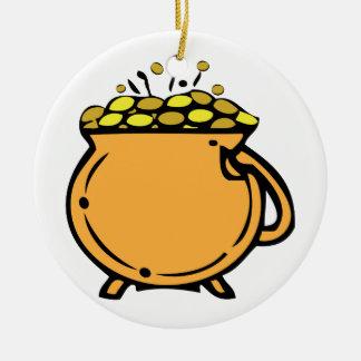 Pot Of Gold Round Ceramic Decoration