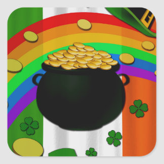 Pot of gold square sticker