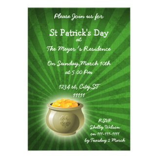 pot of gold St Patrick s Day party Invitation