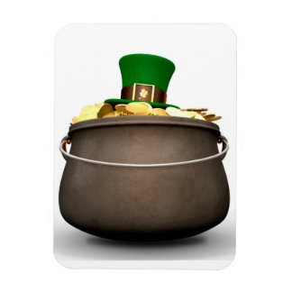 Pot Of Gold With Leprechaun Hat Magnet