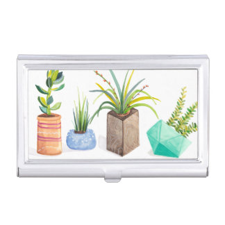 Pot of Succulents Business Card Holder