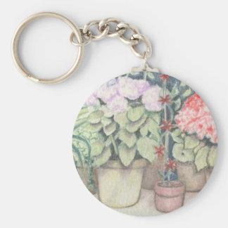 Pot Plant Art Basic Round Button Key Ring