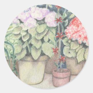 Pot Plant Art Round Sticker
