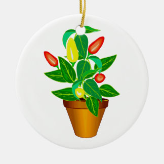 Pot with red and yellow pepper plant round ceramic decoration