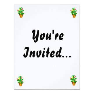 """Pot with red and yellow pepper plant 4.25"""" x 5.5"""" invitation card"""