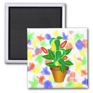 Pot with red and yellow pepper plant square magnet