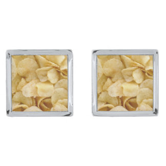 Potato Chip Cufflinks Silver Finish Cufflinks