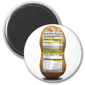 Potato Nutritional Facts 6 Cm Round Magnet