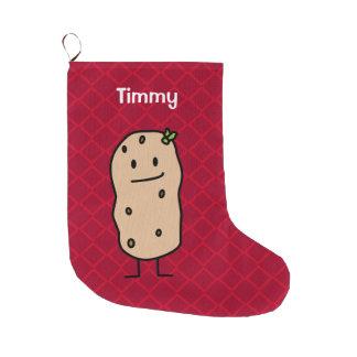 Potato Potatoes - Christmas Happy Cute Smiling Large Christmas Stocking