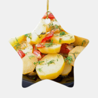 Potatoes with onion, bell pepper and fennel ceramic ornament