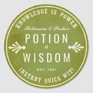 Potion of Wisdom green Halloween potion sticker