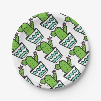 Potted Cactus Fifteen Paper Plate