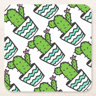 Potted Cactus Fifteen Square Paper Coaster