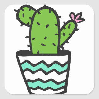Potted Cactus Fifteen Square Sticker