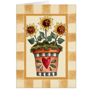 Potted Flowers - Blank Card