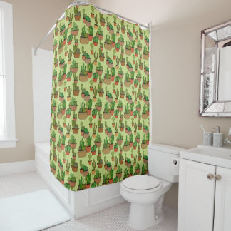Potted Natural Clay Cacti Shower Curtain
