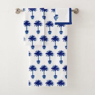 Potted Palm Tree - cobalt blue and white Bath Towel Set