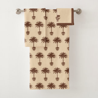 Potted Palm Tree - dark brown and tan Bath Towel Set