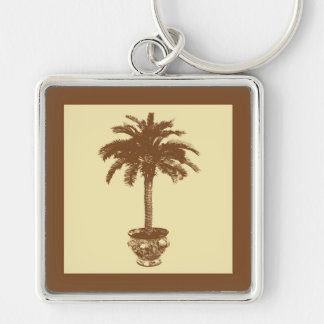 Potted Palm Tree - dark brown and tan Key Chain