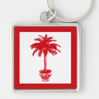 Potted Palm Tree - deep red and white Key Chain