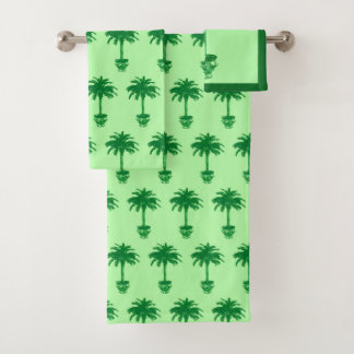 Potted Palm Tree - emerald and light green Bath Towel Set