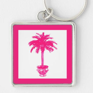 Potted Palm Tree - fuchsia pink and white Key Chain