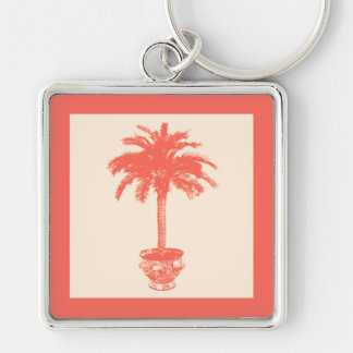 Potted Palm Tree - shades of coral orange Key Chains