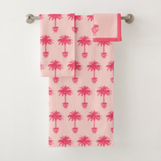 Potted Palm Tree - shades of coral pink Bath Towel Set
