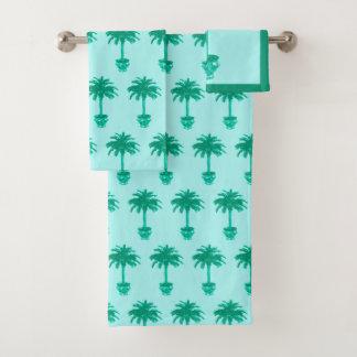 Potted Palm Tree - turquoise and aqua Bath Towel Set