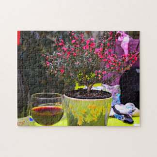 Potted pink Flowers and wine in Paris Puzzles