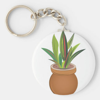Potted Plant Basic Round Button Key Ring