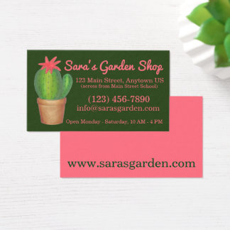 Potted Plant Green Cactus Flower Garden Shop Business Card