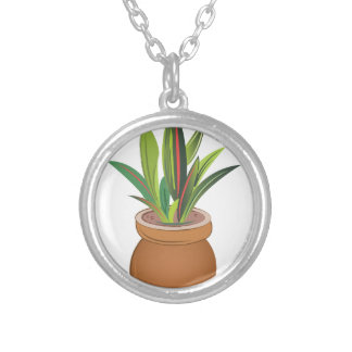 Potted Plant Round Pendant Necklace