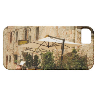 Potted plants and patio umbrellas in front of a iPhone 5 cover