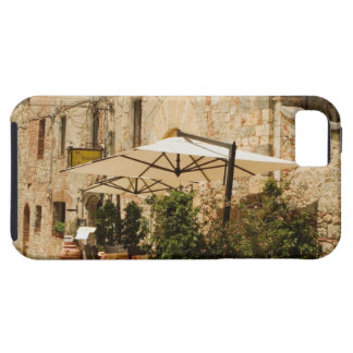Potted plants and patio umbrellas in front of a iPhone 5 covers