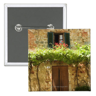 Potted plants in front of a building, Piazza 15 Cm Square Badge